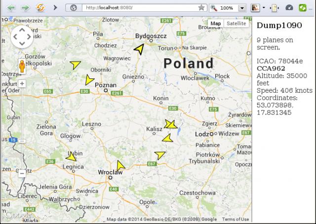 web interface of dump1090